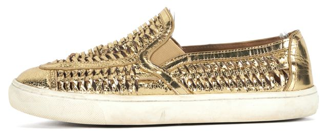 TORY BURCH Gold Woven Leather Haurache Slip-On Sneakers