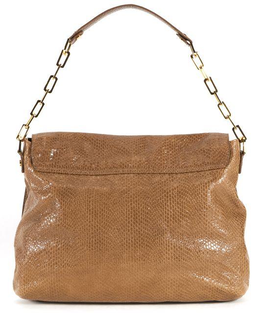 TORY BURCH Dark Beige Snake Embossed Leather Chain Shoulder Bag