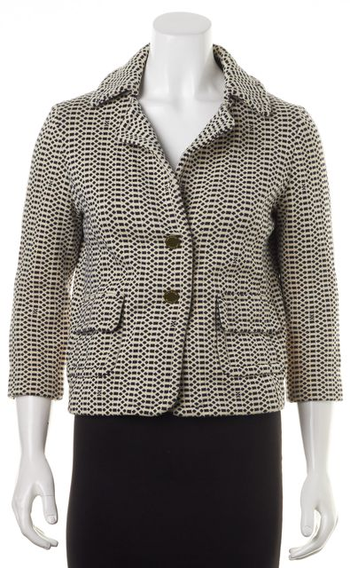 TORY BURCH Beige Navy Blue Geometric Snap Front Basic Jacket