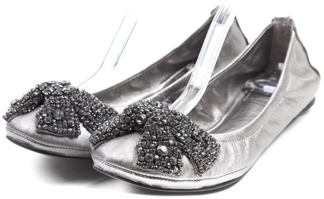 TORY BURCH Silver Embellished Leather Bonneville Ballet Flats