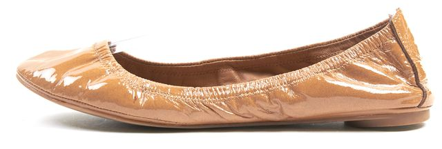 TORY BURCH Caramel Brown Patent Leather Ballet Flats