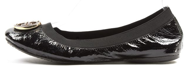 TORY BURCH Black Gold Medallion Patent Leather Reva Ballet Flats