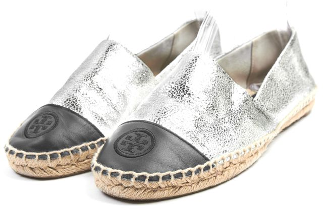 TORY BURCH Silver Metallic Navy Color Block Leather Espadrille Flats