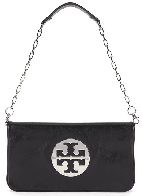 TORY BURCH Black Leather Chain Strap Fold-Over Shoulder Bag