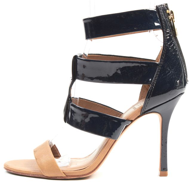 TORY BURCH Brown Navy Blue Patent Leather Strappy Sandal Heels