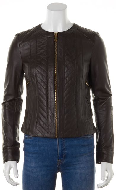 TORY BURCH Brown Leather Gold-Tone Zip-Up Jacket