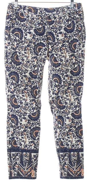 TORY BURCH Ivory Blue Pink Stretch Cotton Cropped Skinny Jeans
