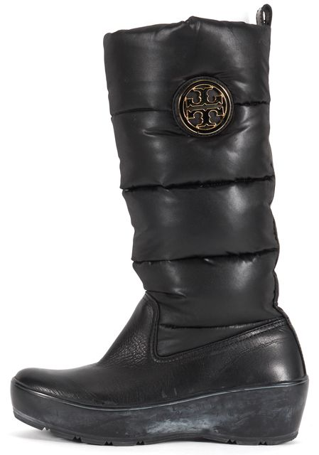 TORY BURCH Black Leather Nylon Mid-Calf Wedged Puffer Snow Boots