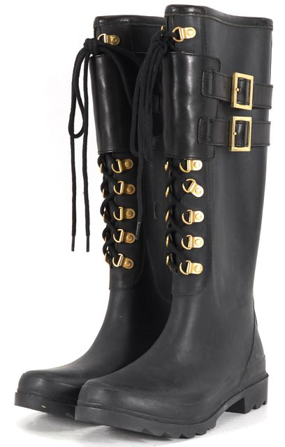 TORY BURCH Black Rubber Knee-High Lace-Up Rain Boots