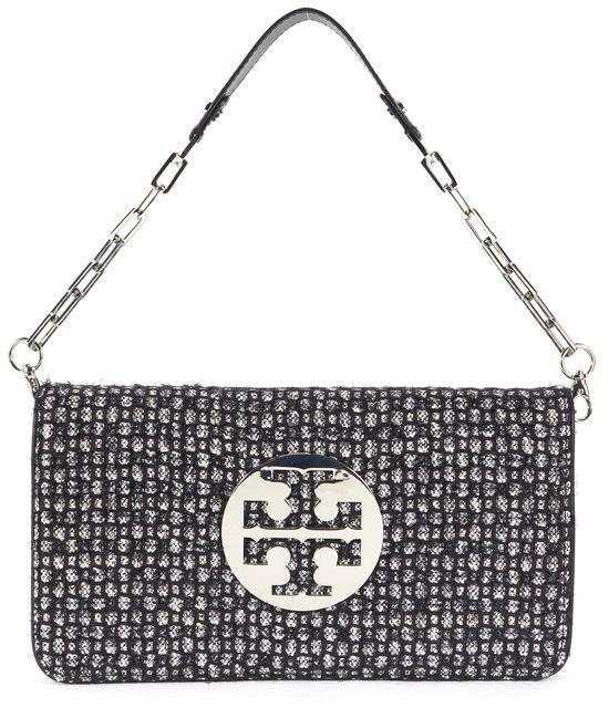 TORY BURCH Black Silver Wool Tweed Knit Silver Chain Clutch Shoulder Bag
