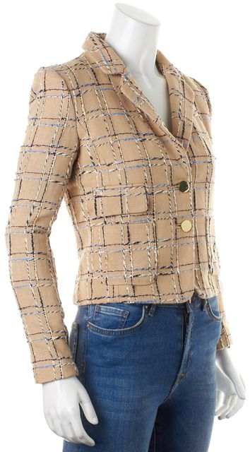 TORY BURCH Beige Multi Cotton Linen Tweed Evie Jacket Blazer