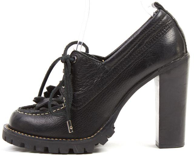TORY BURCH Black Pebbled Leather Platform Oxford Heels
