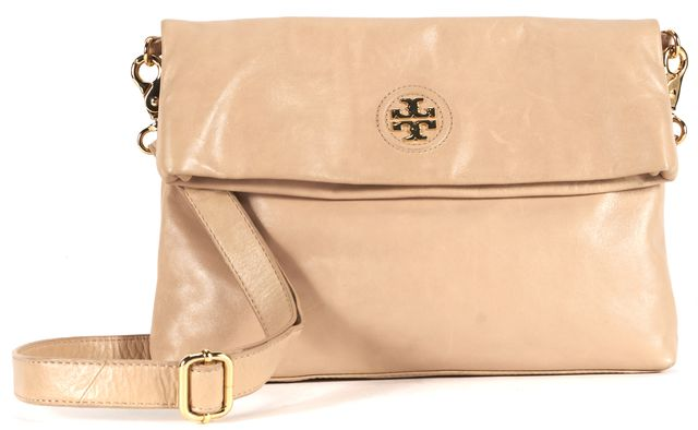 TORY BURCH Beige Leather Gold Hardware Fold Over Shoulder Bag