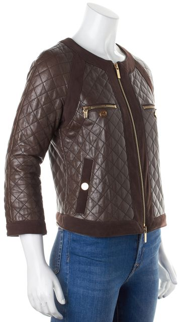 TORY BURCH Brown Quilted Leather Suede Trim Gold Tone Zip Jacket