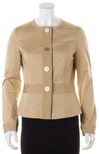 TORY BURCH Beige Cotton Grosgrain Trim Logo Buttons Jacket
