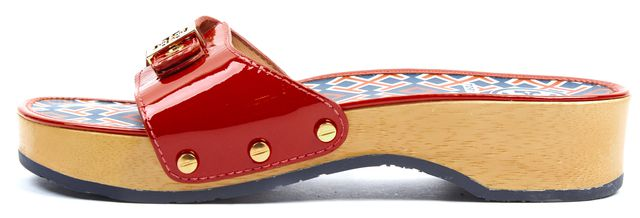 TORY BURCH Red Patent Leather Slip-On Platform Sandals