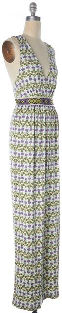 TORY BURCH Green White Floral Silk Martin Maxi Dress