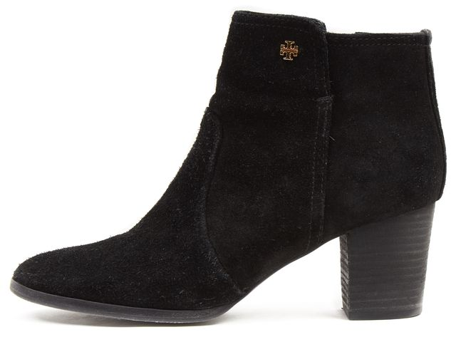 TORY BURCH Black Split Suede Sabe Block Heeled Ankle Boots