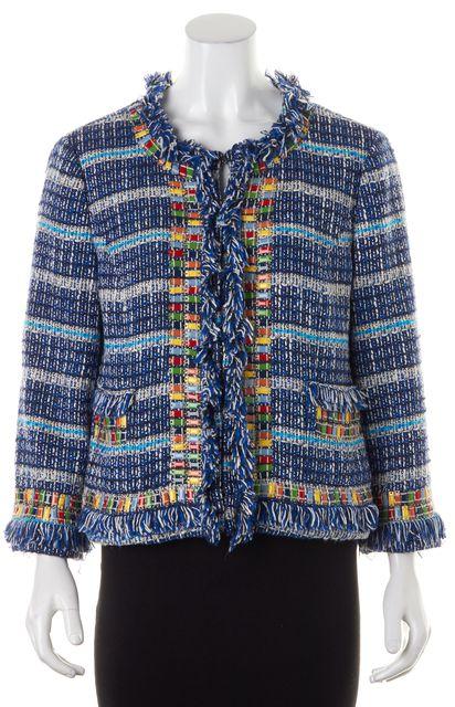 TORY BURCH Blue White Embellished Cotton Tweed Fringe Trim Jacket