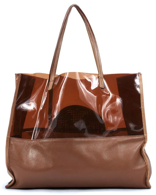 TORY BURCH Brown PVC Pebbled Leather Trim Shopping Tote Bag