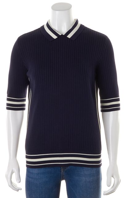TORY BURCH Navy Blue White Striped Half Sleeve Collared Polo Rib Knit Top
