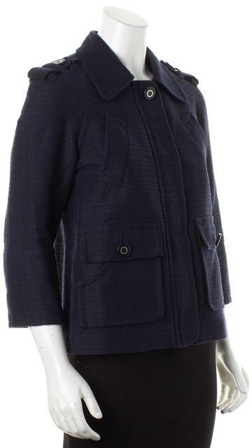TORY BURCH Navy Blue Cotton Linen Epaulette Shoulders Lightweight Coat