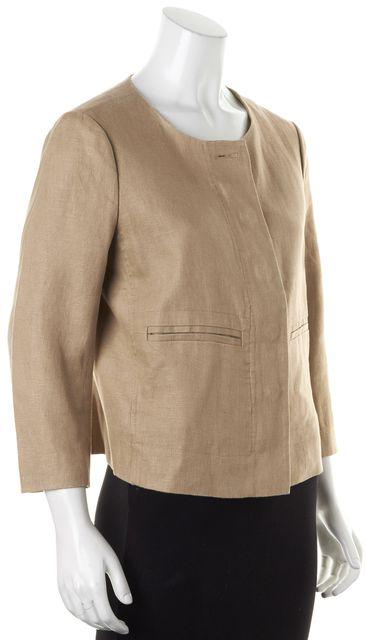 TORY BURCH Beige Linen Basic Zip-Up Jacket