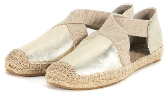 TORY BURCH Spark Gold Leather Catalina Espadrille Flats