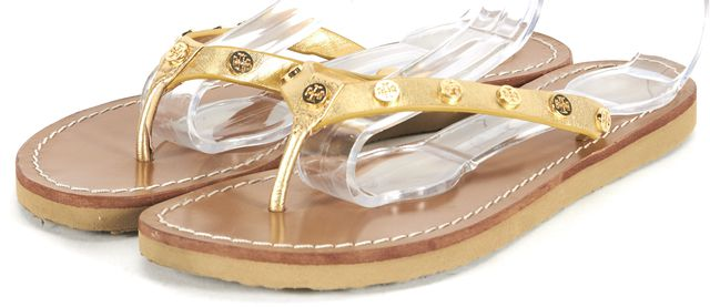 TORY BURCH Gold Logo Embellished Leather Flat Slip-On Sandals