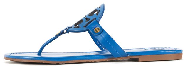 TORY BURCH Blue Leather Miller Logo Flat Slip-On Sandals