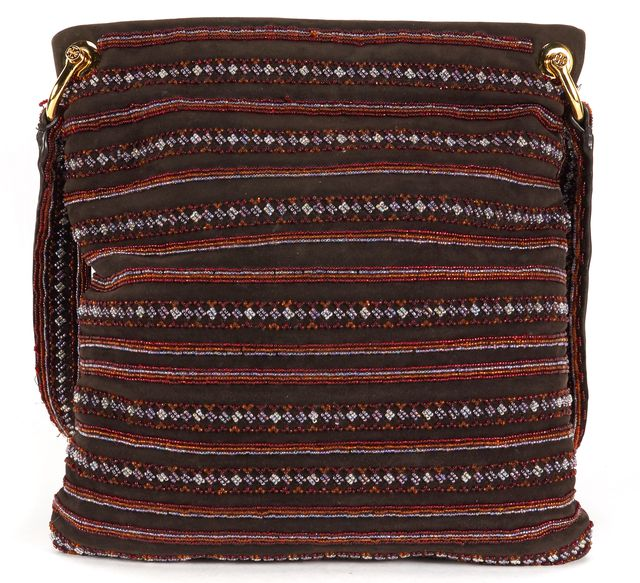 TORY BURCH Brown Bead Embellished Suede Leather Trim Shoulder Bag