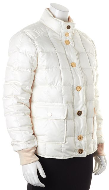 TORY BURCH White Gold Tone Polyester Button Down Puffer Coat