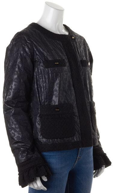 TORY BURCH Black Boucle Tweed Quilted Wind Breaker Patch Pockets Jacket