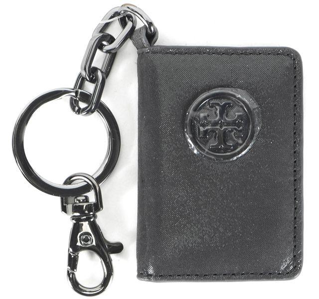 TORY BURCH Gray Metallic Leather Bragbook Photo Frame Keyfob Keychain