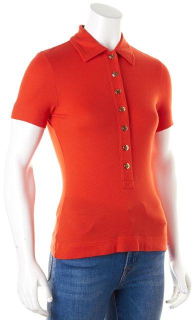 TORY BURCH Blood Orange Short Sleeve Polo Shirt Top