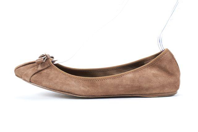 TORY BURCH Chestnut Brown Suede Ballet Flats