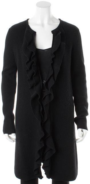 TORY BURCH Black Merino Wool One Button Ruffle Trim Long Cardigan Sweater