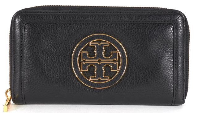 TORY BURCH Black Pebbled Leather Zip Around Logo Wallet