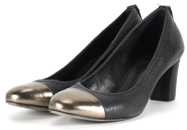 TORY BURCH Black Gray Leather Cap Toe Pump Heels