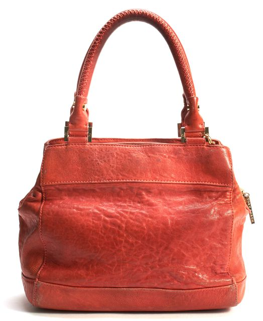TORY BURCH Orange Leather Gold Tone Hardware Top Handle Bag