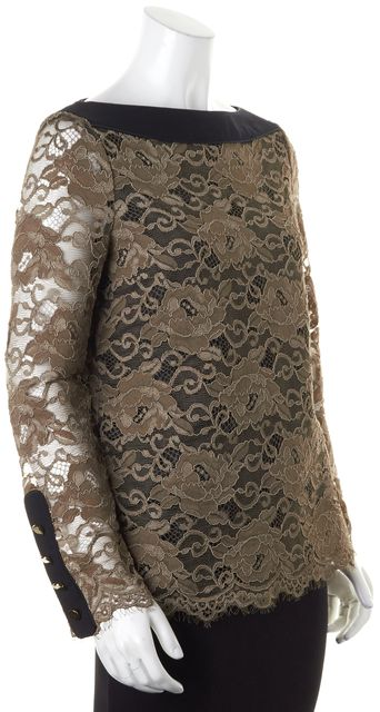 TORY BURCH Brown Lace Blouse