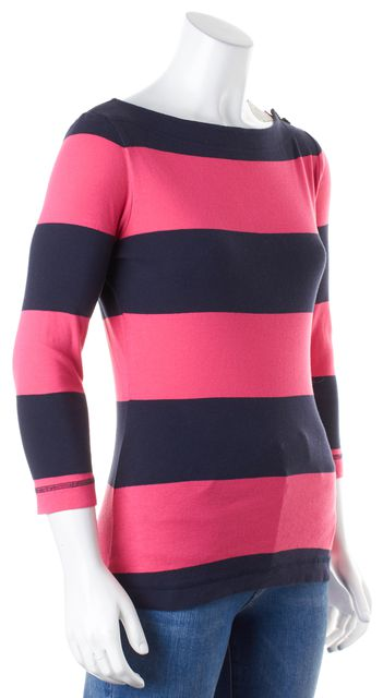 TORY BURCH Pink Dark Navy Striped Boat Neck Long Sleeve Knit Top