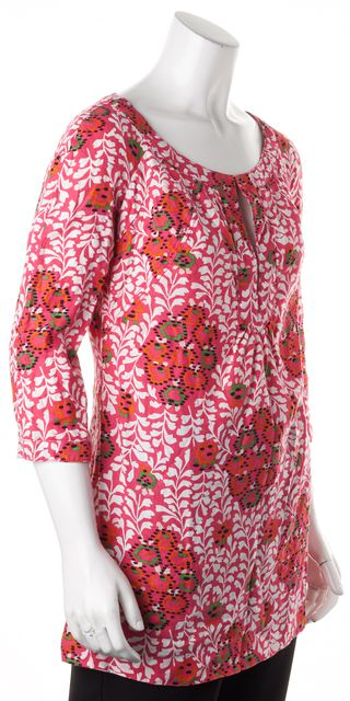 TORY BURCH Pink White Green Floral Linen Tunic Blouse