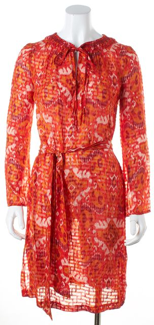 TORY BURCH Orange Abstract Silk Long Sleeve Waist Tied Blouson Dress