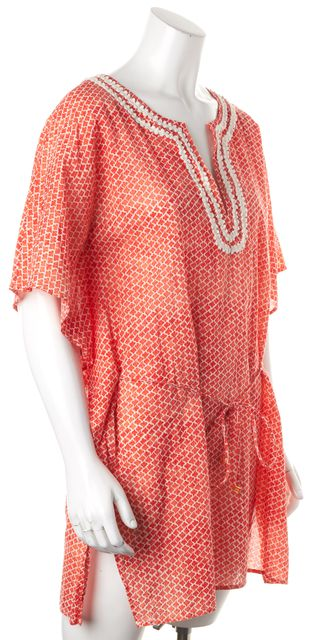 TORY BURCH Red White Geometric Cotton Belted Tunic Dress
