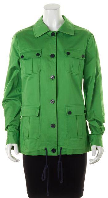 TORY BURCH Green Multi Pocket Button Front Drawstring Jacket