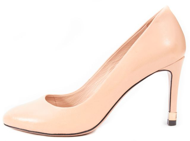TORY BURCH Beige Leather Round Toe Pump Heels