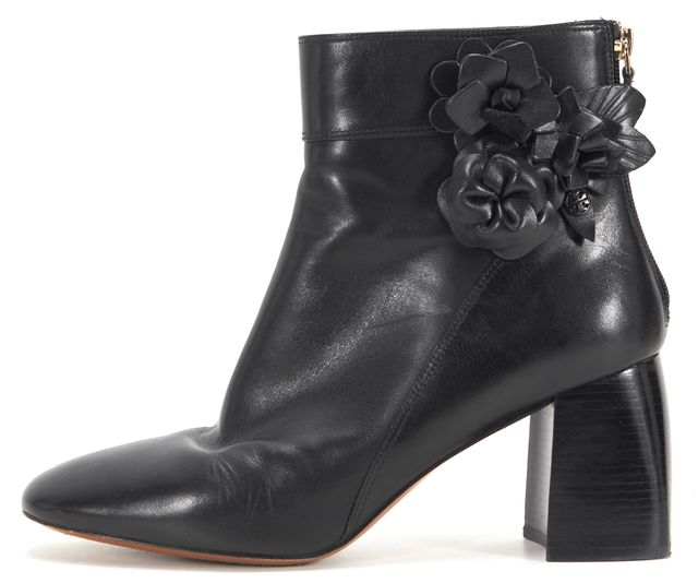 TORY BURCH Black Leather Stacked Heel Ankle Boots