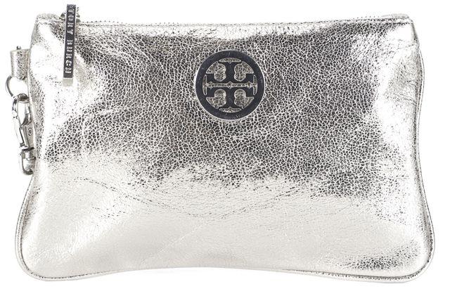 TORY BURCH Silver Leather Wristlet Clutch