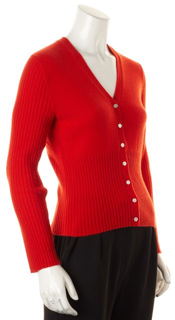 TORY BURCH Red Ribbed Knit Cashmere Cardigan